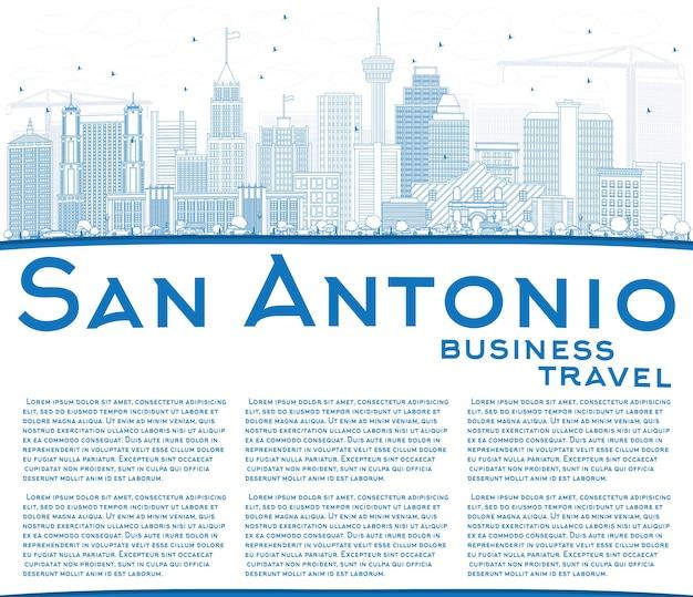 Delinear o horizonte de san antonio com edifícios azuis e espaço de cópia. ilustração vetorial. viagem de negócios e conceito de turismo com arquitetura moderna. imagem para cartaz de banner de apresentação e site.