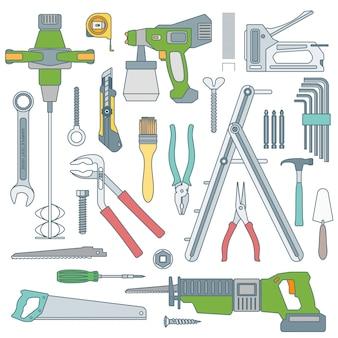 Delinear vários conjunto de instrumentos de ferramentas de reparação de casa
