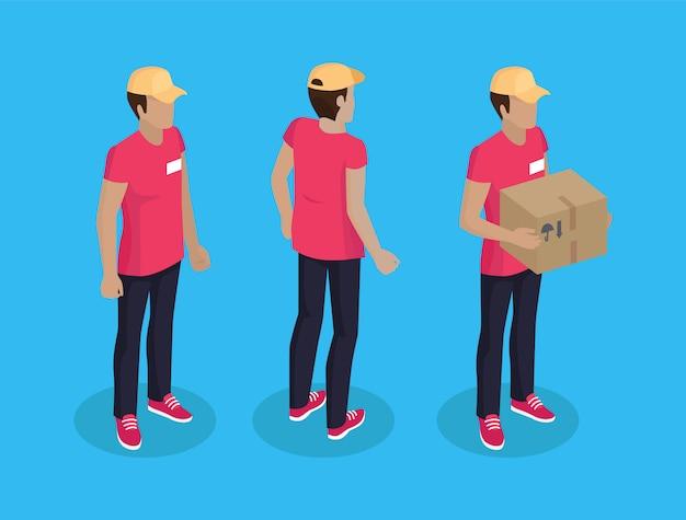 Delivery man with parcel set ilustração