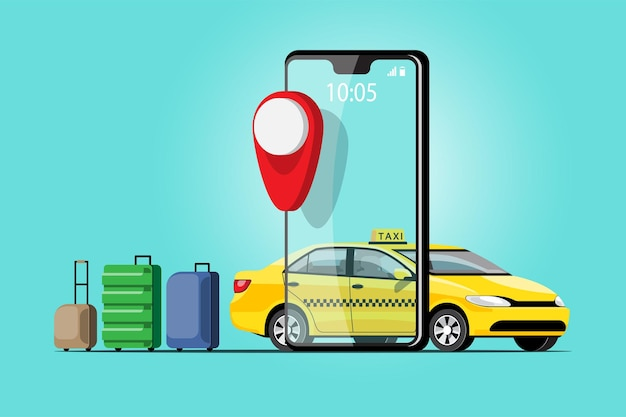 Delivery taxi online car sharing com personagem de desenho animado e smartphone conceito de transporte de cidade inteligente, ilustração