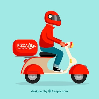 Deliveryman de pizza com scooter e capacete