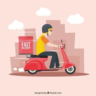 Deliveryman rápido com scooter