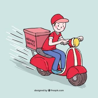Deliveryman smiley com estilo desenhado a mão