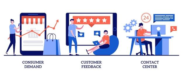Demanda do consumidor, feedback do cliente, conceito de contact center com ilustração de pequenas pessoas