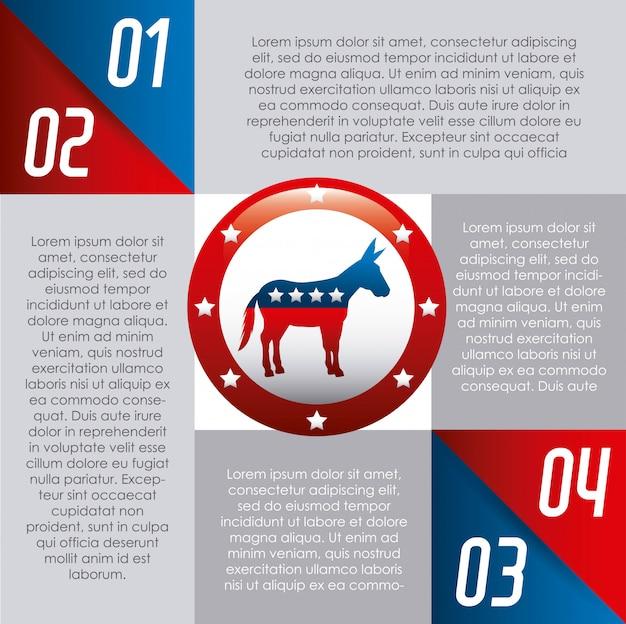 Democrata festa eua isolado ícone