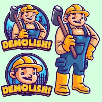 Demolir modelo de logotipo de mascote