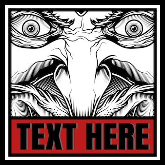 Demônio com desenho de mão de texto