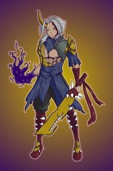 Demônio com design de personagens de espada de dente