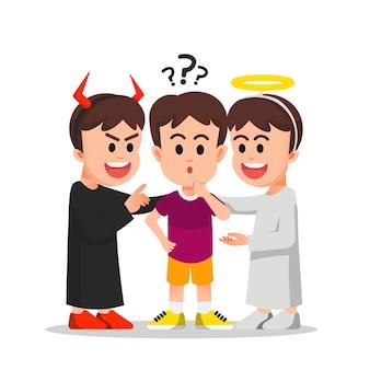 Demônio e anjo tentam influenciar um menino que está em um dilema