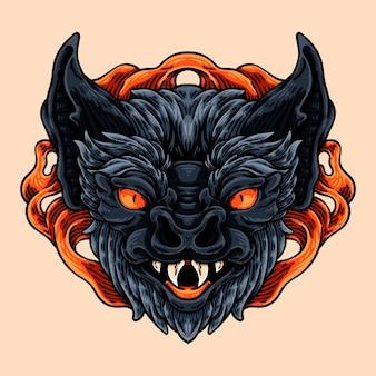 Demônio morcego mascote characte