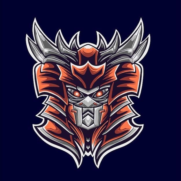 Demônio samurai logo mascote ilustrador Vetor Premium