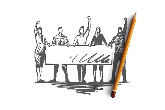 Demonstração, motins, conceito de comícios. pessoas com sinais nas mãos participando de rali. ilustração de esboço desenhado à mão