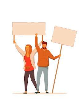 Demonstrador de homem e mulher. manifestante ou ativista masculino e feminino com punho erguido com raiva gritando segurando uma bandeira vazia no fundo branco. reunião política e ilustração de protesto