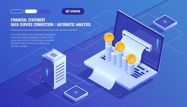 Demonstrativo financeiro, análise e estatística on-line servises, laptop com cronograma de pagamento