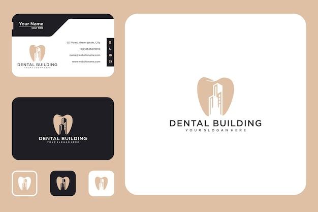 Dental com construção de design de logotipo e cartão de visita