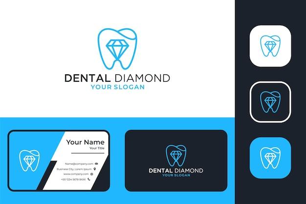 Dental com design de logotipo de arte de linha de diamante e cartão de visita
