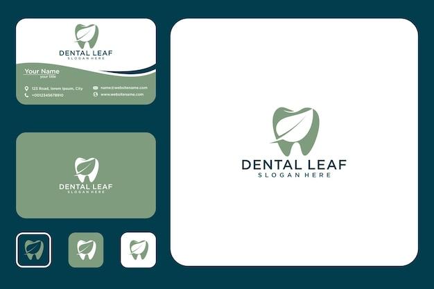 Dental com folha design de logotipo e cartão de visita