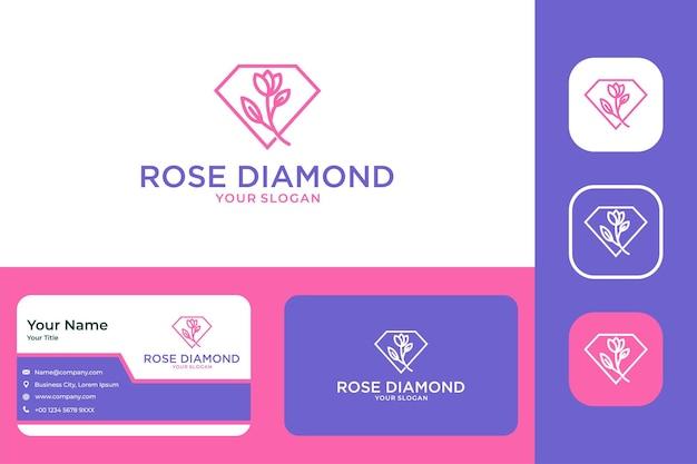 Dental elegante com logotipo de diamante e cartão de visita