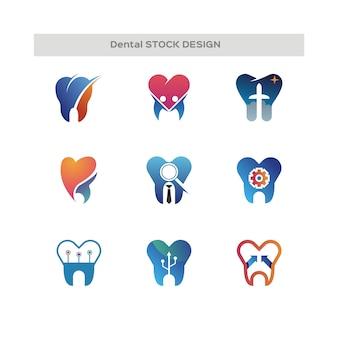 Dental stock design logo Vetor Premium