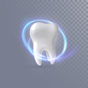 Dente 3d realista com trilha de luz de néon isolada em fundo transparente
