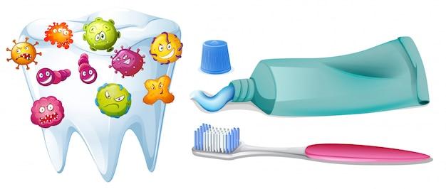 Dente com bactérias e conjunto de limpeza