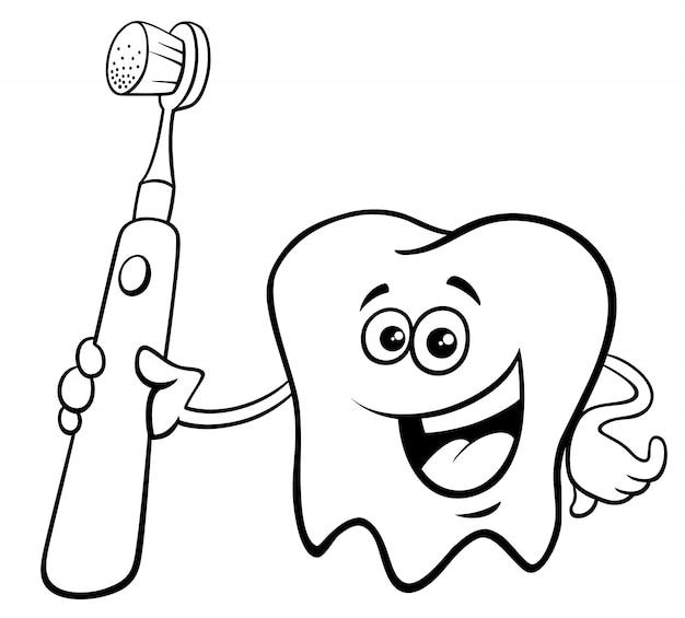 Dente com escova de dentes desenho animado cor livro