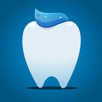 Dente com pasta azul no topo