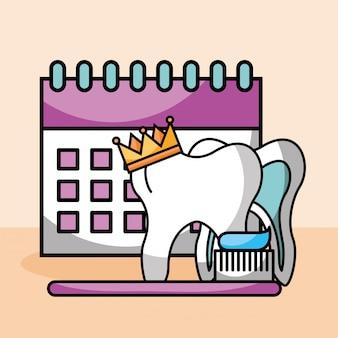 Dente coroa escova colar calendário