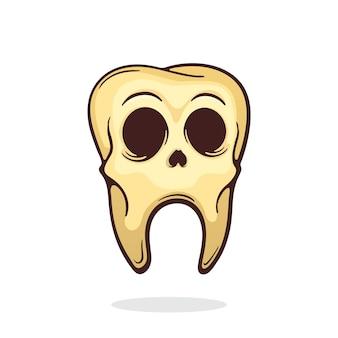 Dente de crânio humano velho e doente com olhos dente morto com cárie.