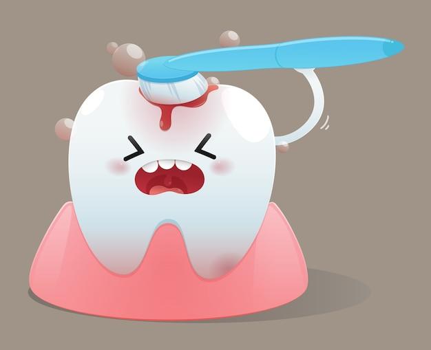 Dente de desenhos animados com escova de dentes