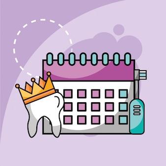 Dente de escova de dentes elétrica e planejamento de calendário