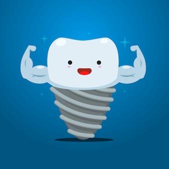 Dente de implante com mão de músculo. ilustração vetorial isolado