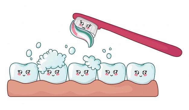 Dente de kawaii feliz limpo e brilhante com espuma de sabão e escova de dentes