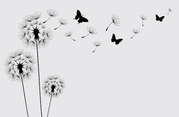 Dente de leão com borboletas voando e sementes