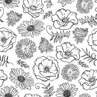Dente-de-leão de camomila e papoila monocromático floral sketch seamless pattern