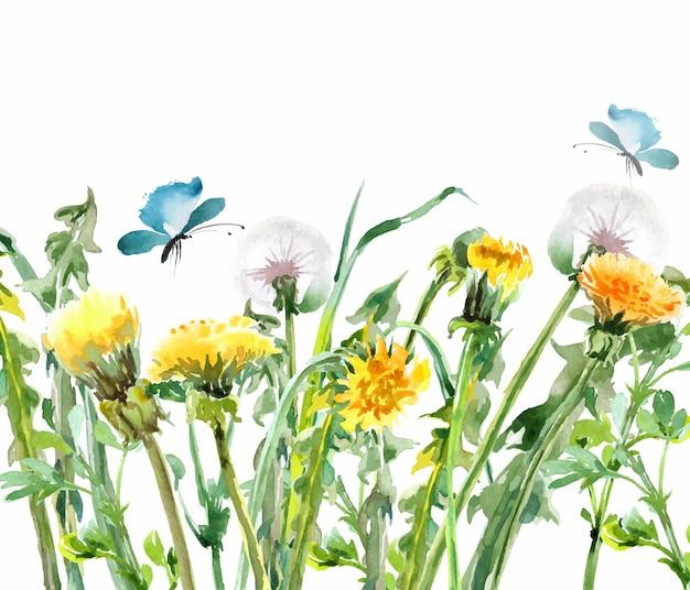Dente-de-leão flores amarelas com borboletas vetor de modelo de buquê floral em aquarela