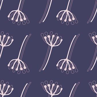 Dente de leão flores sem costura padrão botânico. fundo azul marinho brilhante com elementos florais contornos brancos. cenário simples. ed para papel de parede, têxteis, papel de embrulho, impressão em tecido.