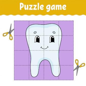 Dente de planilha de jogo de quebra-cabeça