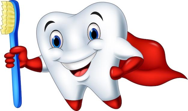 Dente de super-herói dos desenhos animados com escova de dentes
