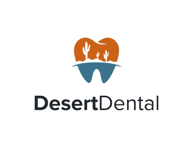 Dente dental com cacto deserto simples, elegante, criativo, geométrico, moderno, logotipo