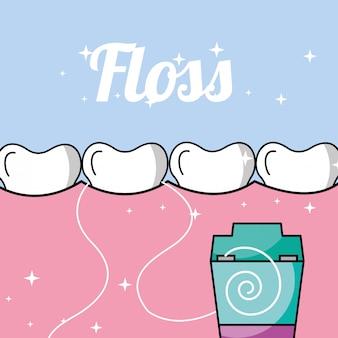 Dente e goma dentro da boca fio dental