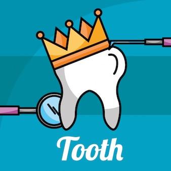 Dente em coroa de ferramentas de atendimento odontológico