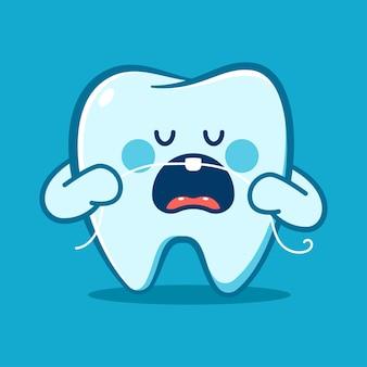Dente engraçado com personagem de desenho animado de vetor de fio dental isolada no fundo.