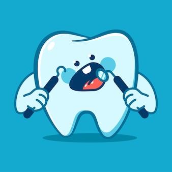 Dente engraçado com personagem de desenho animado de vetor de instrumentos odontológicos isolado no fundo.