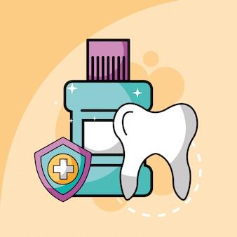 Dente enxaguatório bucal e proteção do escudo atendimento odontológico