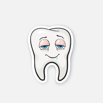 Dente feliz bêbado dente com olhos ilustração vetorial de higiene bucal