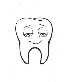 Dente humano adulto saudável e sorridente satisfeito com os olhos depois de comer ilustração em vetor de contorno