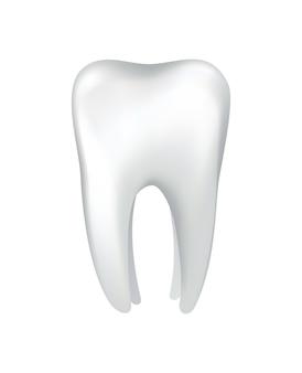 Dente humano brilhante branco. ícone de vetor de médicos odontológicos. símbolo da clínica de estomatologia. proteção dos dentes, higiene bucal ou dentária. restauração de dentes