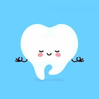 Dente humano feliz saudável bonitinho forte meditar em pose de ioga. cartoon plana ilustração personagem ícone do design. isolado no fundo branco. dente, dentes, dentista, conceito de atendimento odontológico