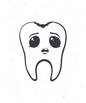 Dente humano fofo e insalubre com olhos tristes e cárie. esboço ilustração vetorial cárie dentária